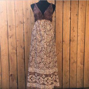 Lucky Brand Boho Tie-dye Batik Brown Maxi Dress
